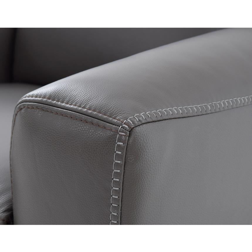 Bay Harbor Gray Power Motion Leather Recliner  alternate image, 6 of 9 images.