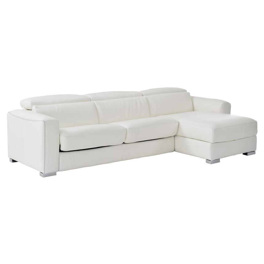 Bay Harbor White Leather Sleeper w/Storage  main image, 1 of 9 images.