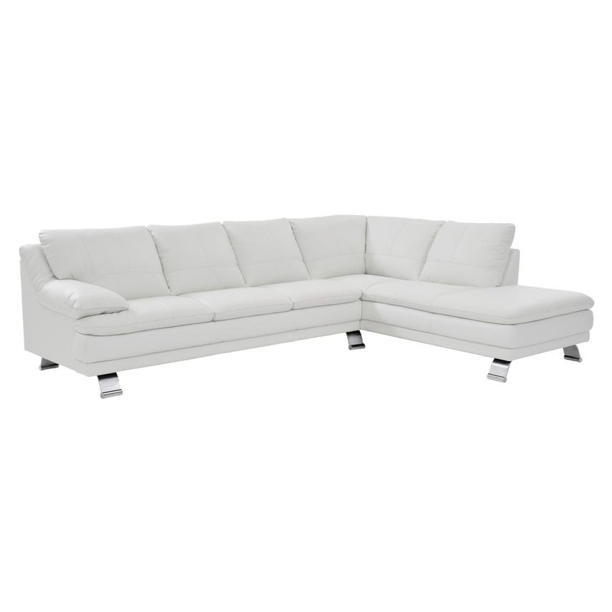 Rio White Leather Sofa w/Right Chaise  main image, 1 of 7 images.