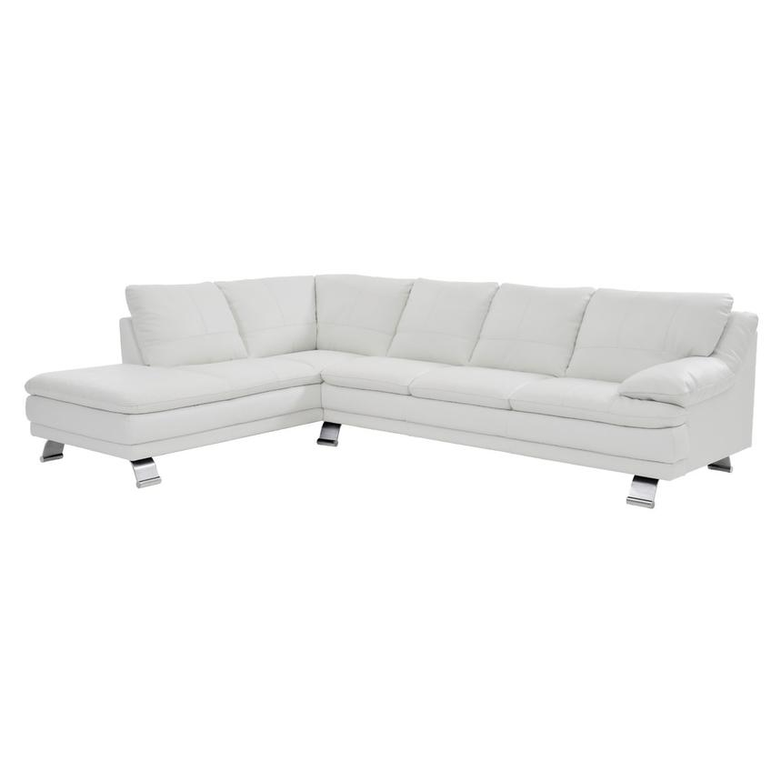 Rio White Leather Sofa w/Left Chaise  main image, 1 of 8 images.