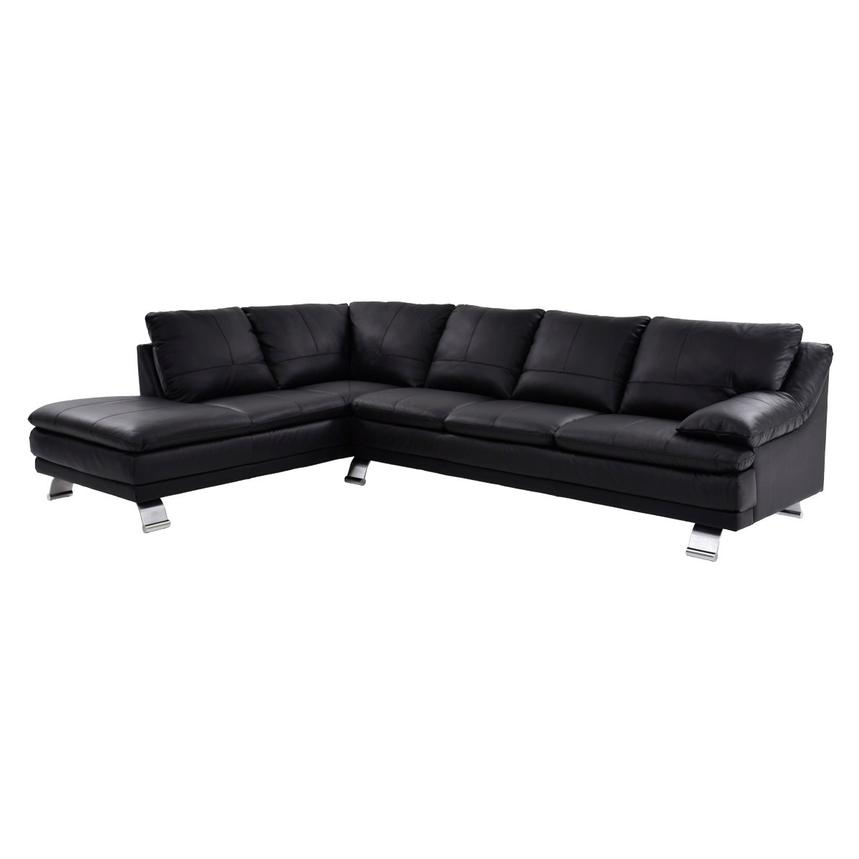 Rio Black Leather Sofa w/Left Chaise  main image, 1 of 8 images.