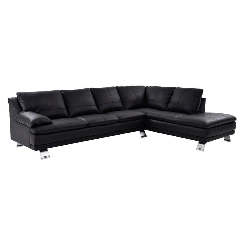 Rio Black Leather Sofa w/Right Chaise  main image, 1 of 8 images.