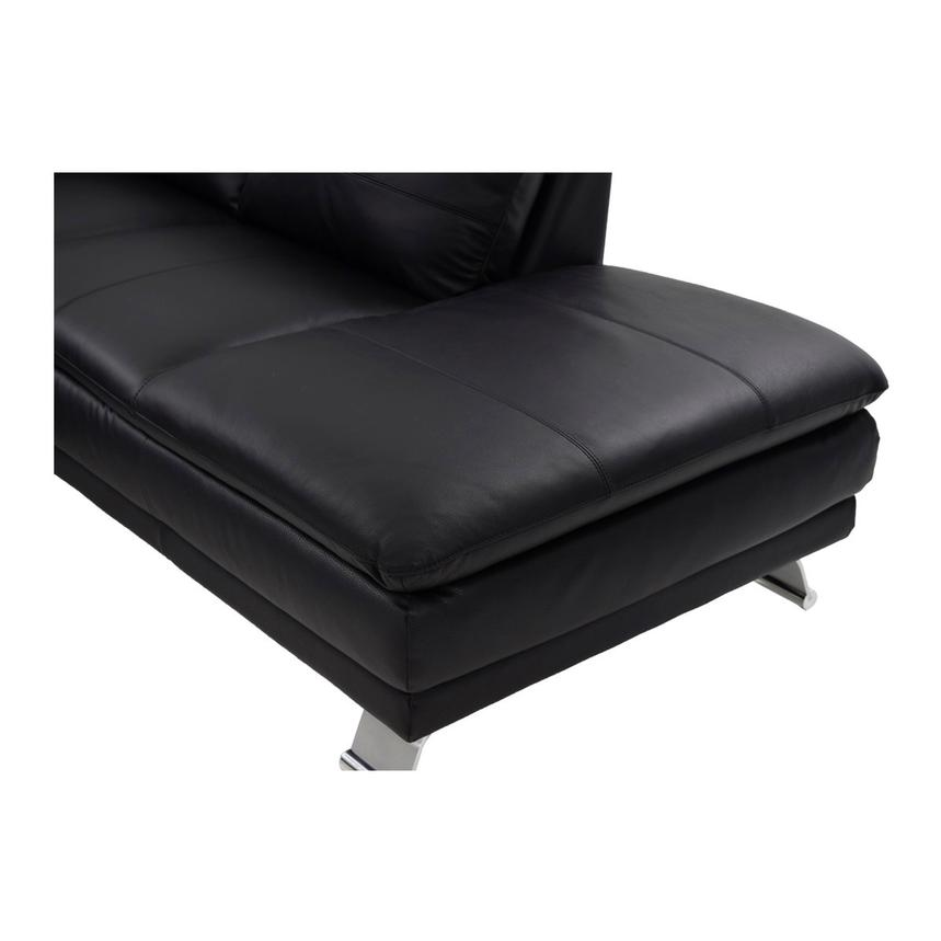 Rio Black Leather Sofa w/Right Chaise  alternate image, 6 of 8 images.