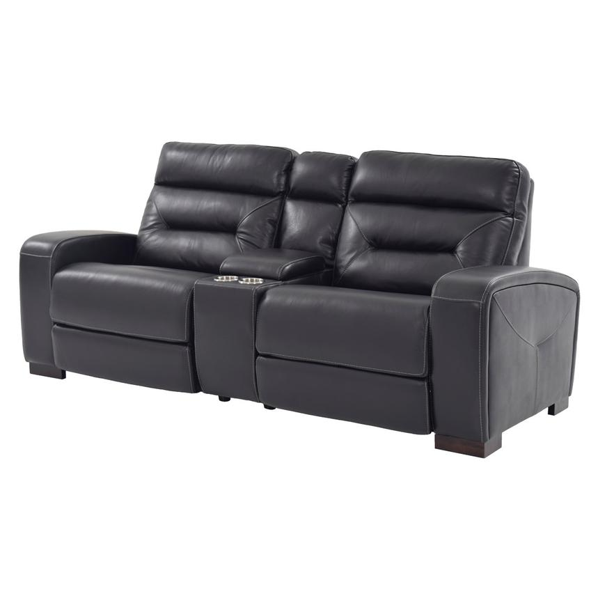 Rochester Black Power Motion Leather Sofa w/Console  main image, 1 of 10 images.
