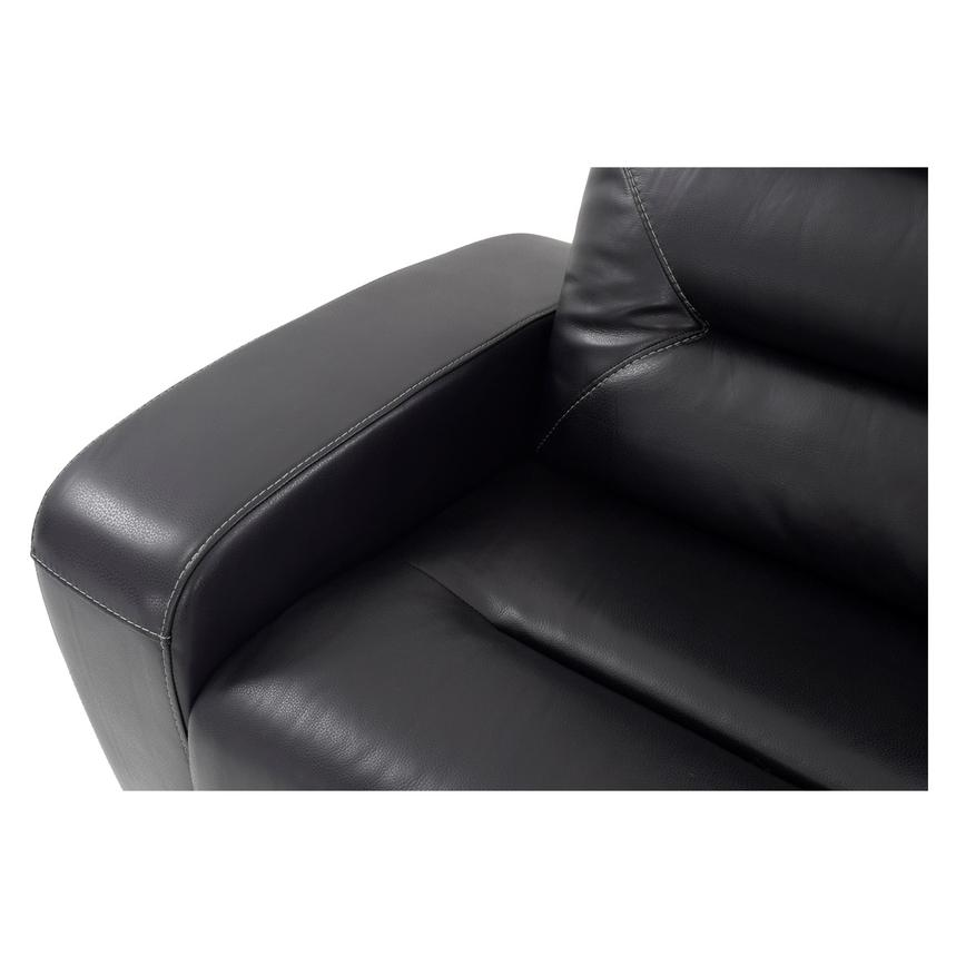 Rochester Black Power Motion Leather Sofa w/Console  alternate image, 6 of 10 images.