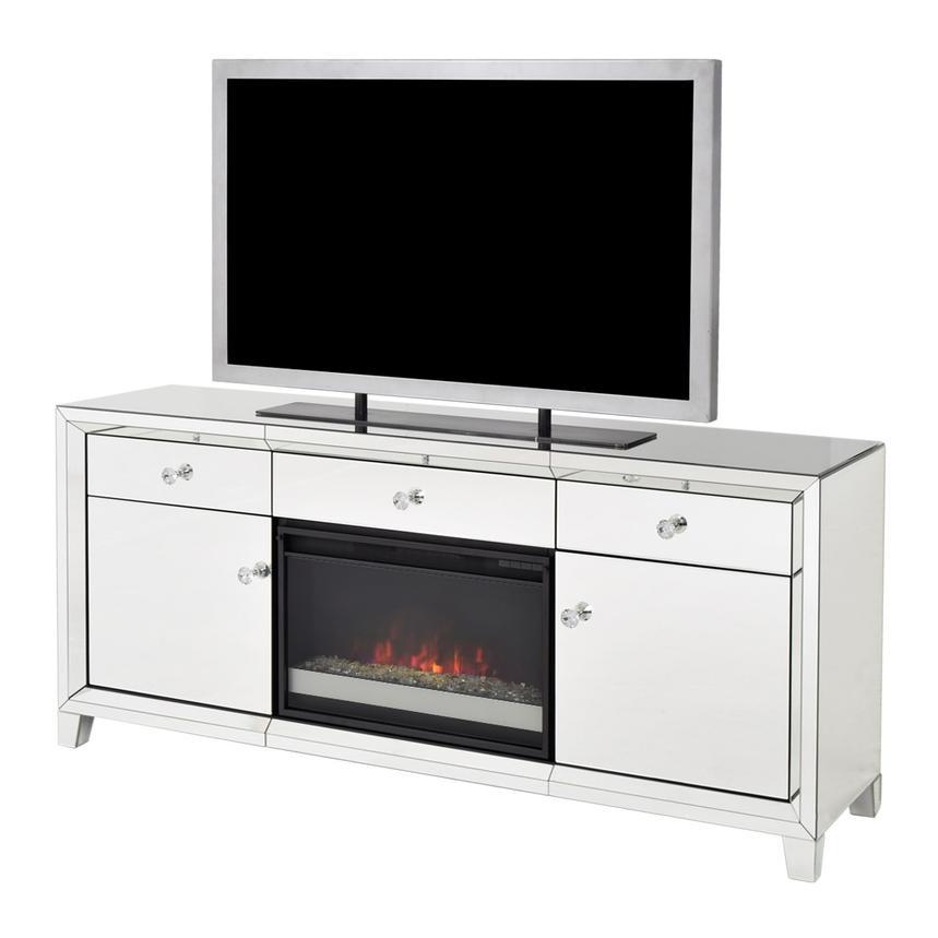 Amia Mirrored Faux Fireplace W Remote Control El Dorado