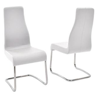 Florence White Leather Side Chair Made in Italy