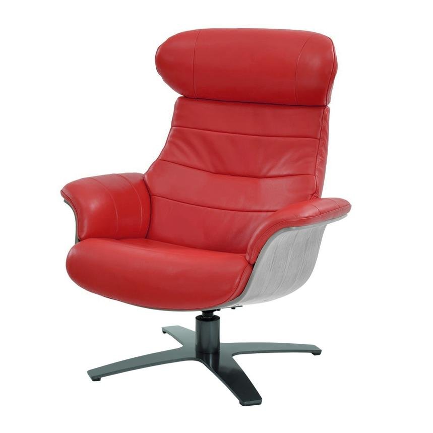 Enzo Red Leather Swivel Chair  main image, 1 of 10 images.