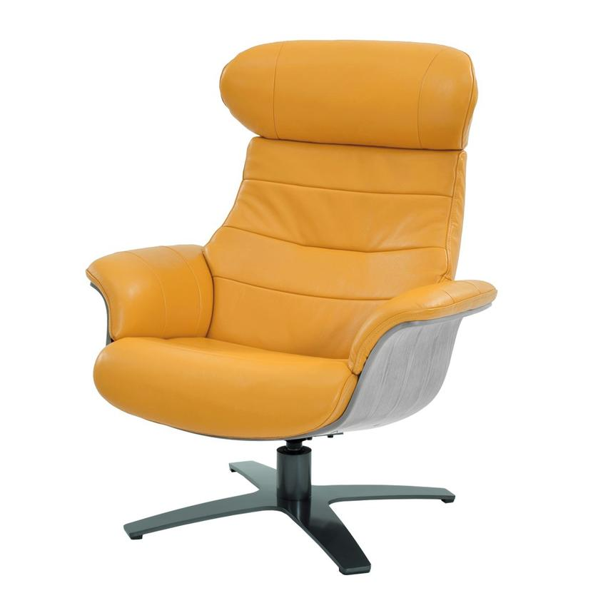 Enzo Yellow Leather Swivel Chair  main image, 1 of 10 images.