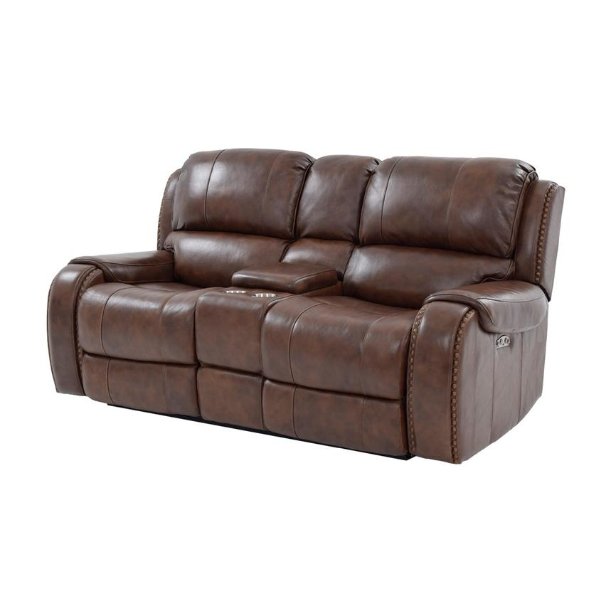 Durham Power Motion Leather Sofa W/Console Main Image, 1 Of 13 Images.