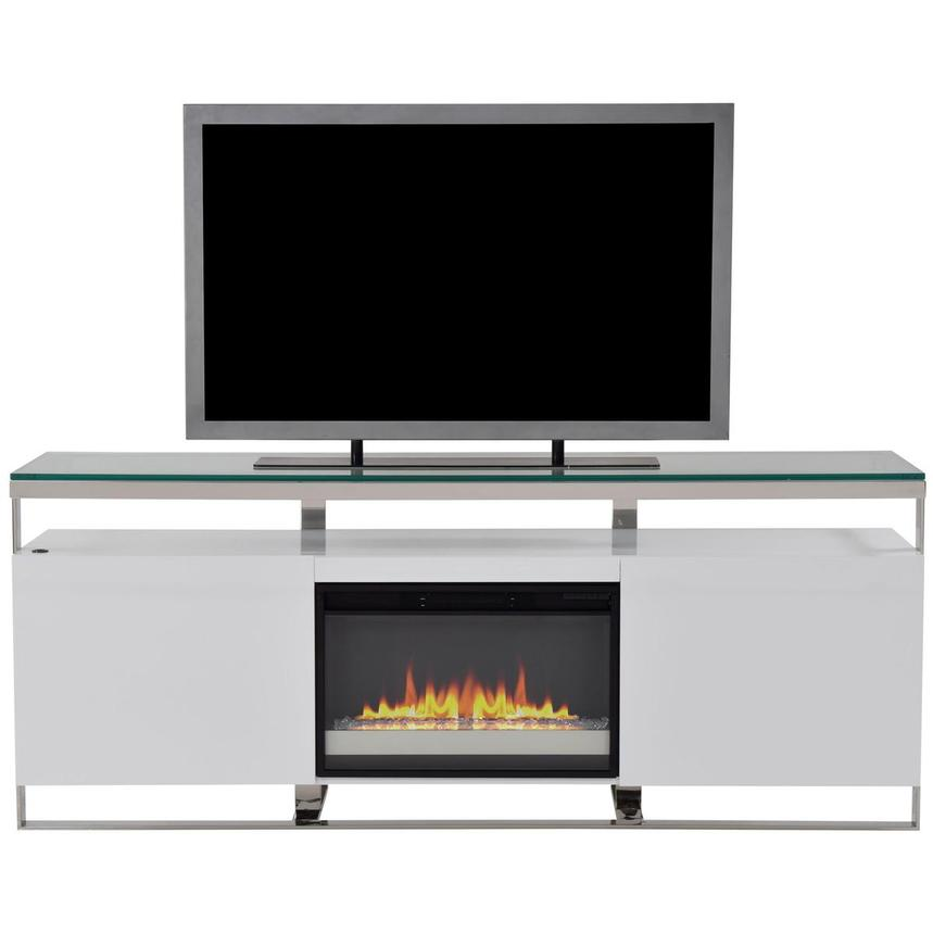 Calypso White Faux Fireplace w/Remote Control  main image, 1 of 7 images.