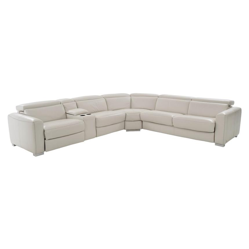 Bay Harbor Cream Power Motion Leather Sofa w/Right Sleeper  main image, 1 of 8 images.
