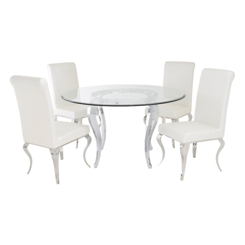 Letticia/Lizbon 5-Piece Round Formal Dining Set  main image, 1 of 8 images.
