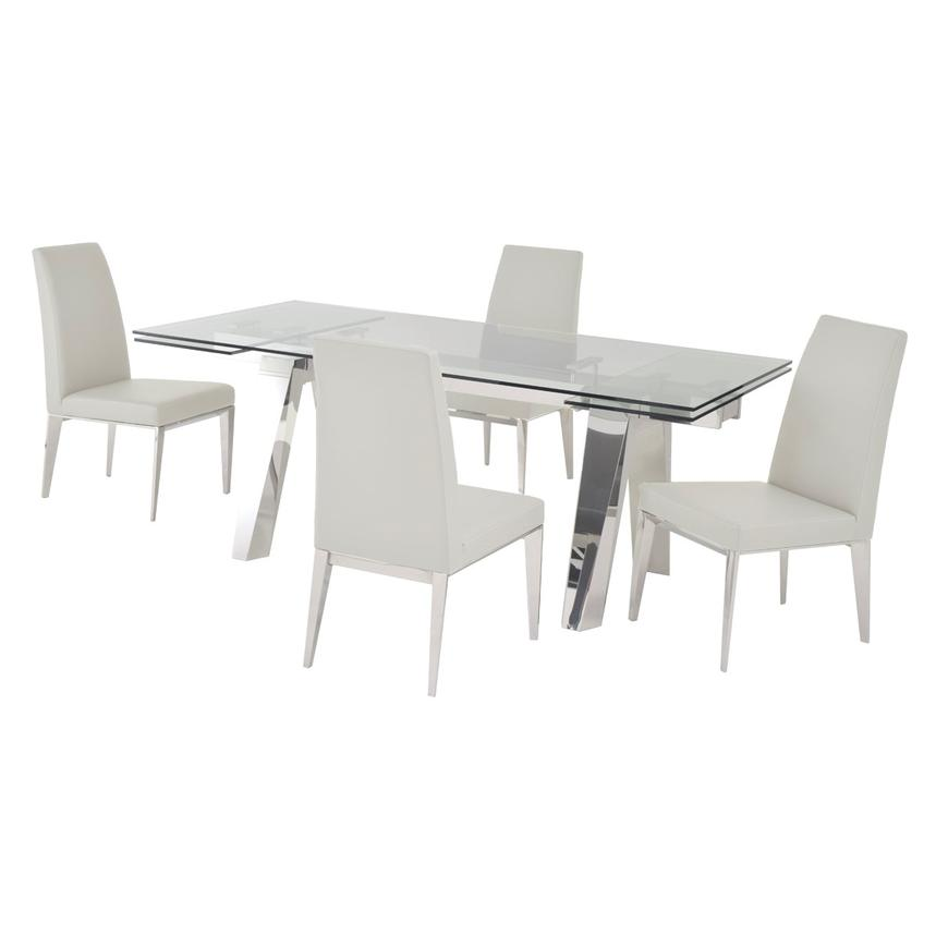 Madox White 5-Piece Formal Dining Set  main image, 1 of 12 images.