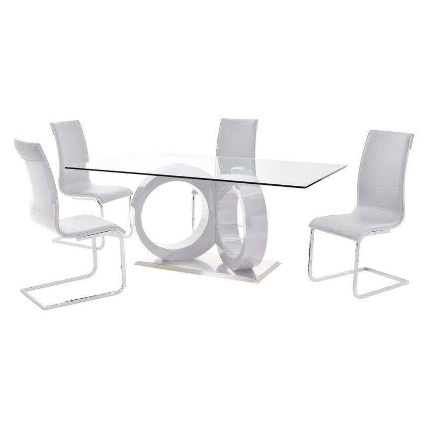 Stop 36 White 5-Piece Formal Dining Set  main image, 1 of 10 images.