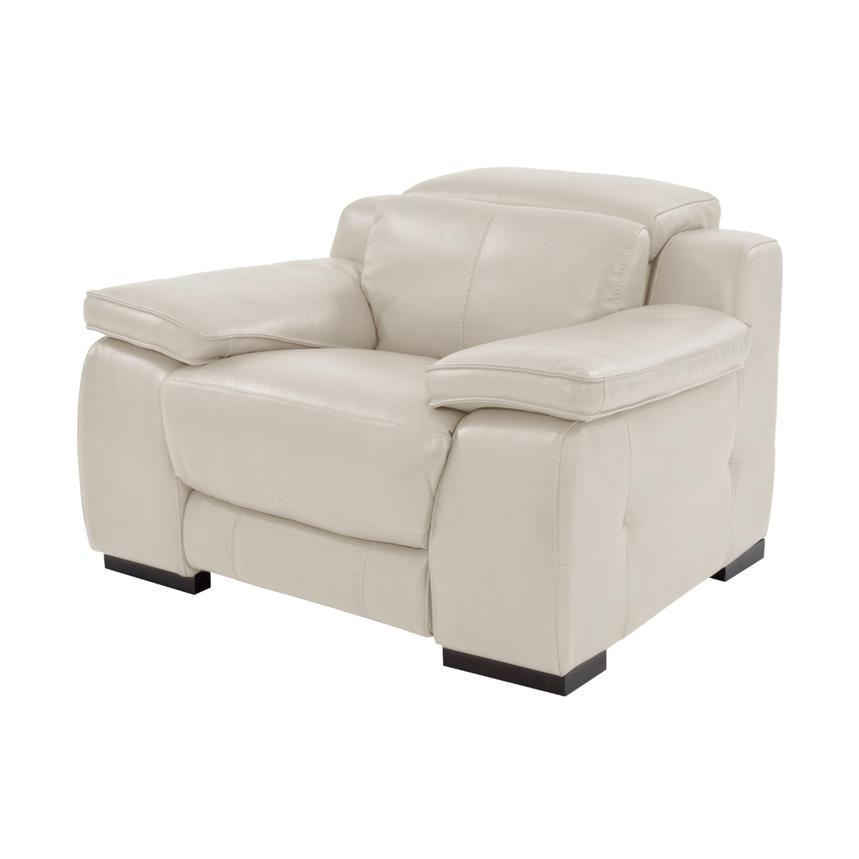 Gian Marco Cream Power Motion Leather Recliner  main image, 1 of 8 images.