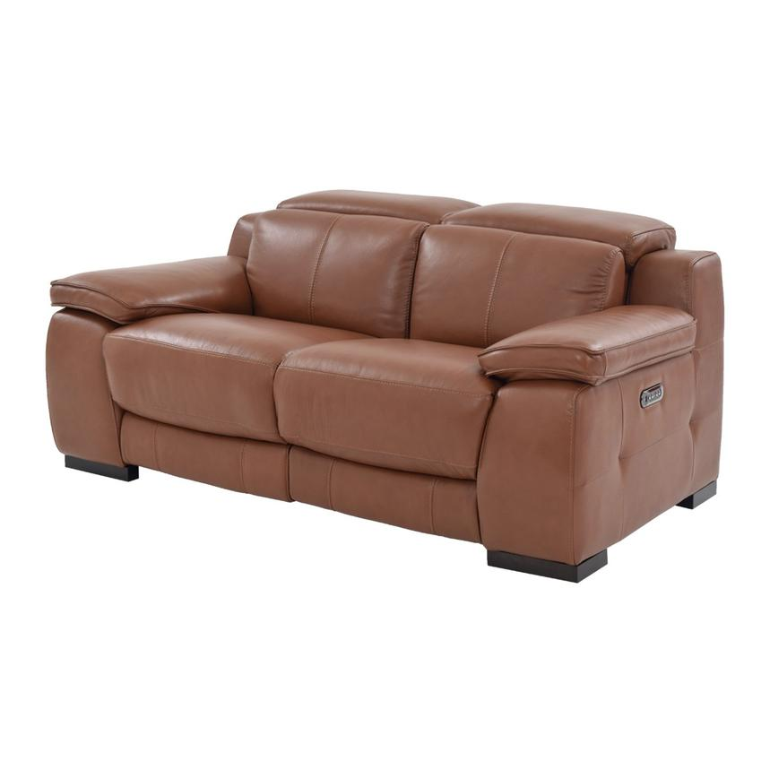 Gian Marco Tan Power Motion Leather Loveseat  main image, 1 of 9 images.