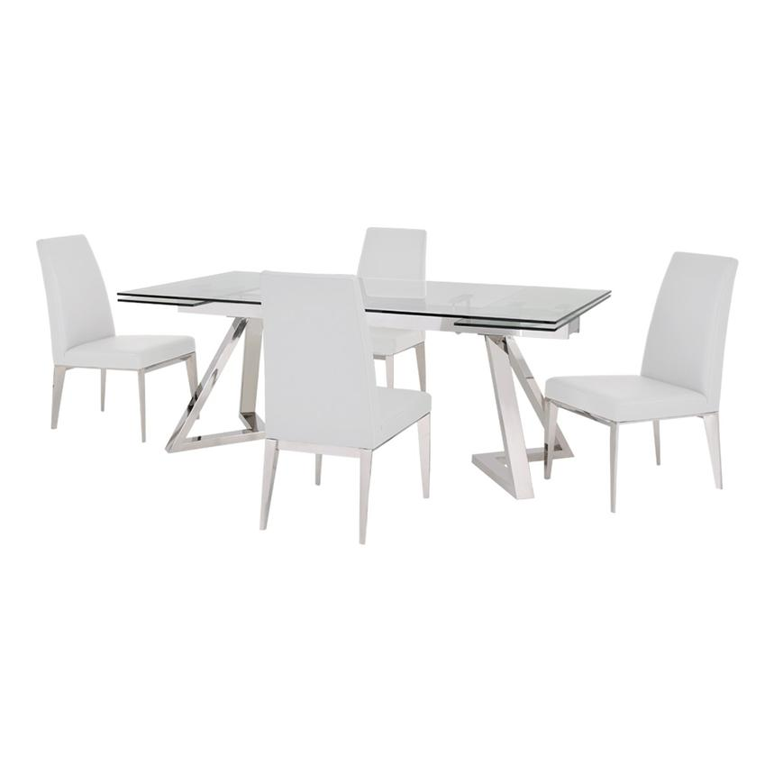 Suri White 5-Piece Formal Dining Set  main image, 1 of 12 images.