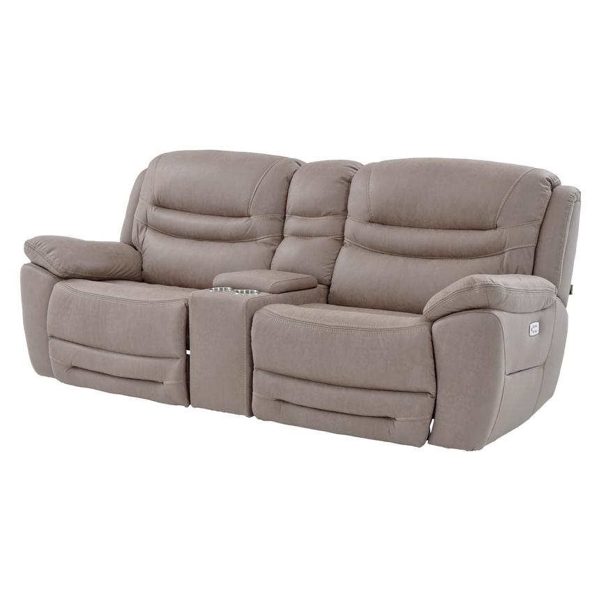 Dan Light Gray Power Motion Sofa w/Console  main image, 1 of 10 images.