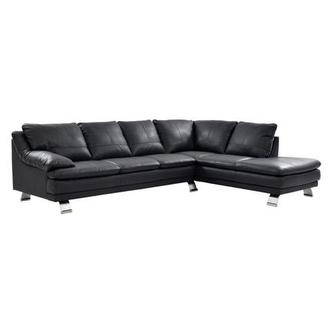 Rio Dark Gray Leather Sofa w/Right Chaise