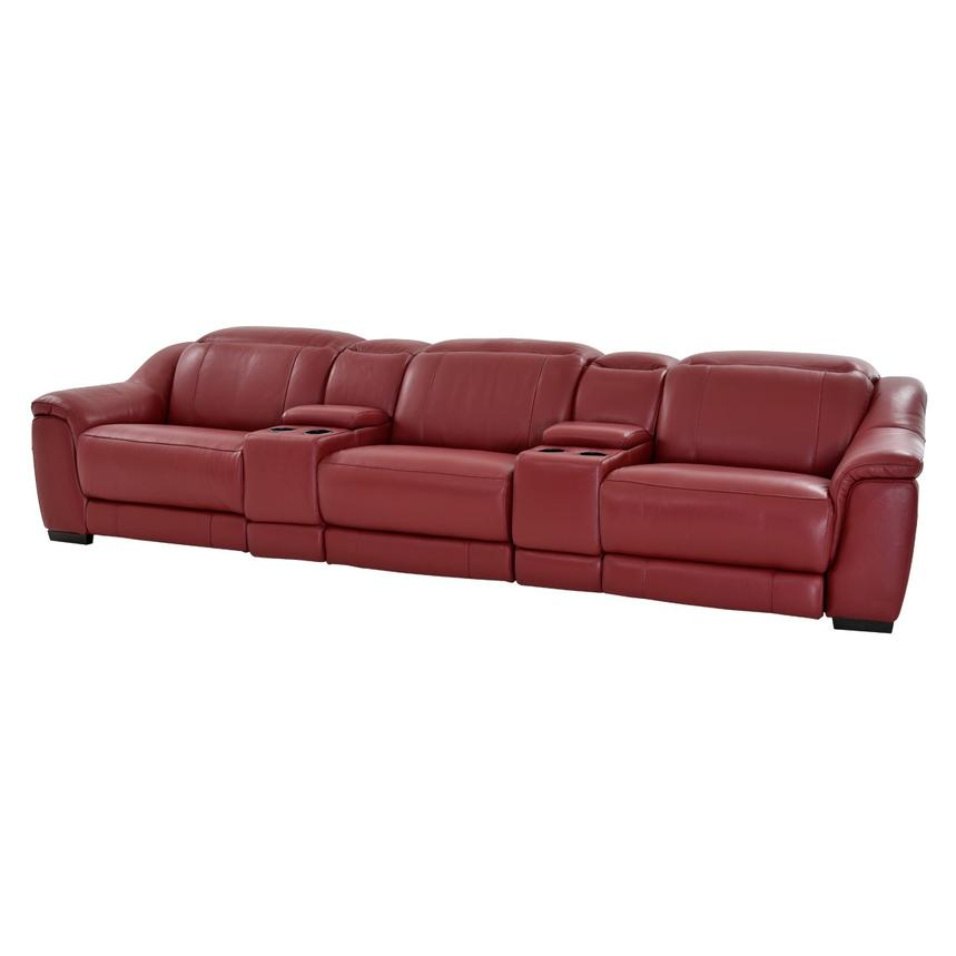 Davis Red Home Theater Leather Seating  main image, 1 of 11 images.