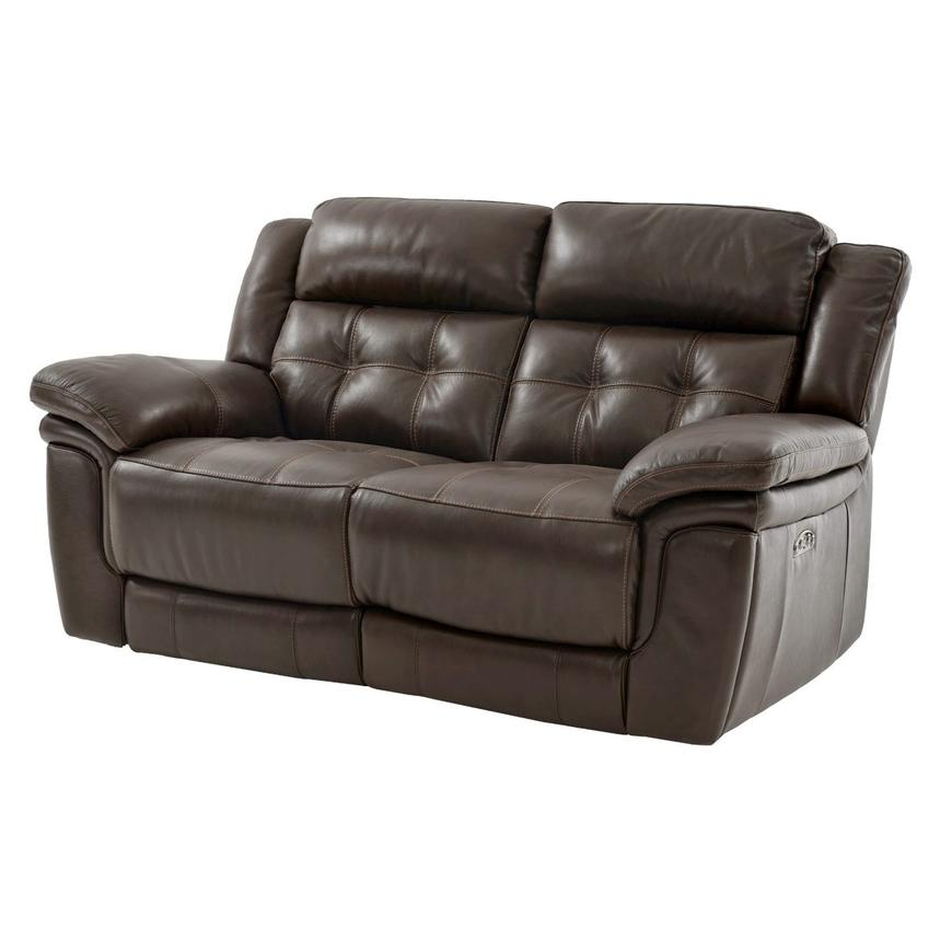 Stallion Brown Power Motion Leather Loveseat  main image, 1 of 8 images.