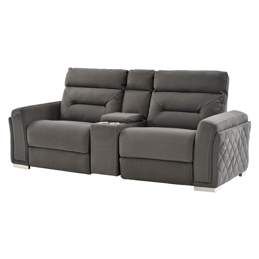Beau Kim Gray Power Motion Sofa W/Console Main Image, 1 Of 11 Images.