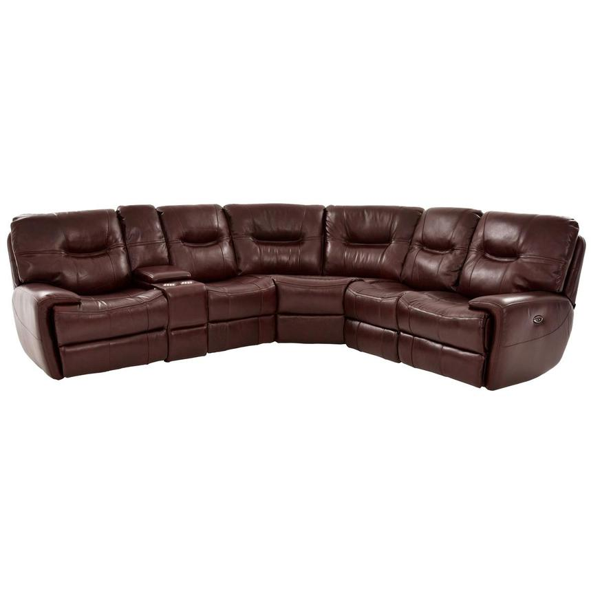 Houston Brown Power Motion Leather Sofa w/Console  main image, 1 of 9 images.