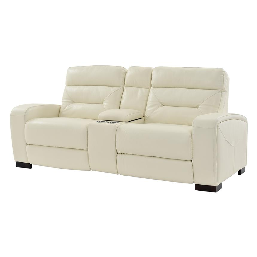 Rochester Cream Power Motion Leather Sofa W/Console Main Image, 1 Of 10  Images