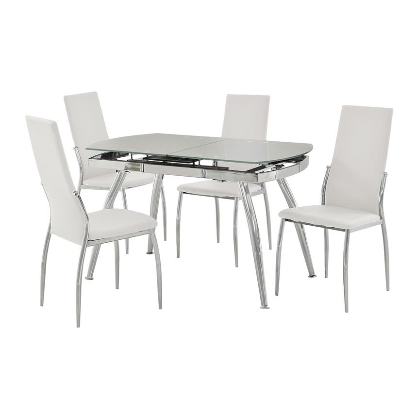 Luna White 5-Piece Casual Dining Set  main image, 1 of 11 images.