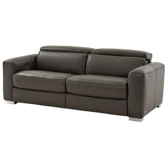 Bay Harbor II Gray Power Motion Leather Sofa