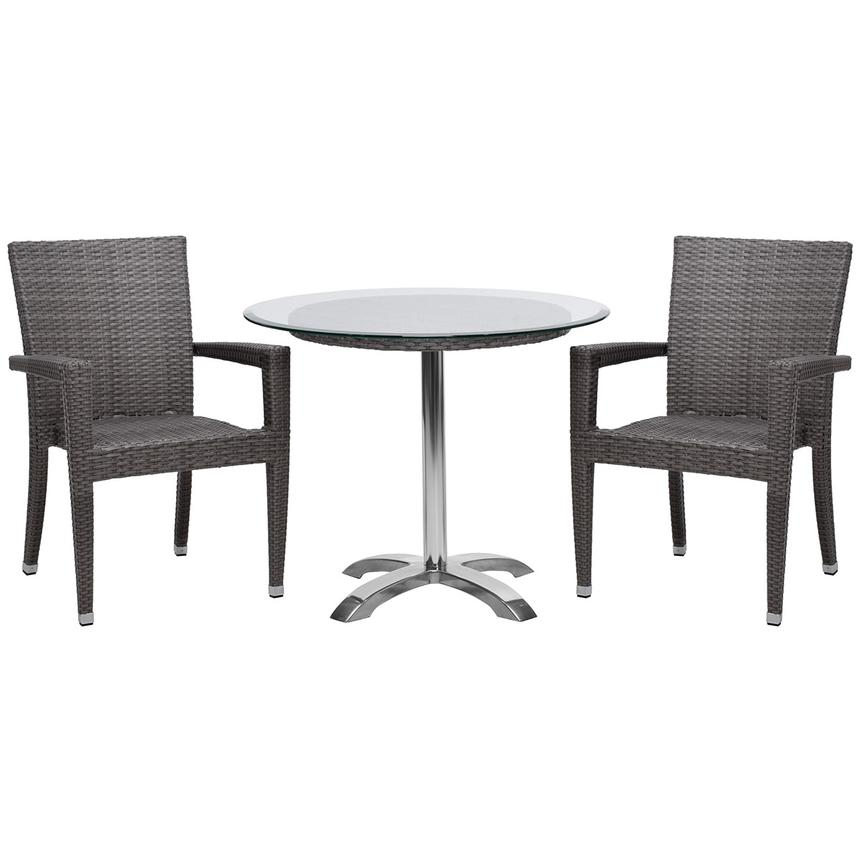 Gerald/Neilina Gray 3-Piece Patio Set w/10mm Glass Top  main image, 1 of 9 images.