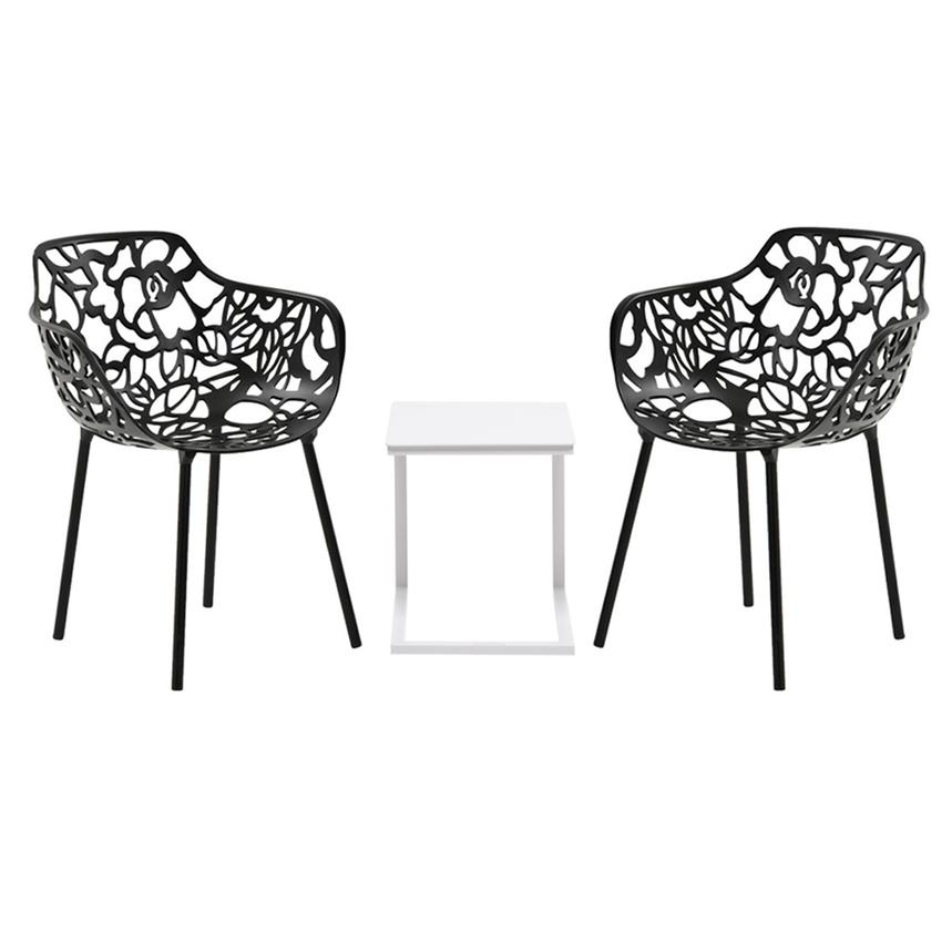Mykonos/Rosie Black 3-Piece Patio Set  main image, 1 of 8 images.