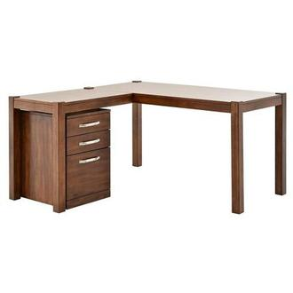 Kayu L-Shaped Desk w/File Cabinet