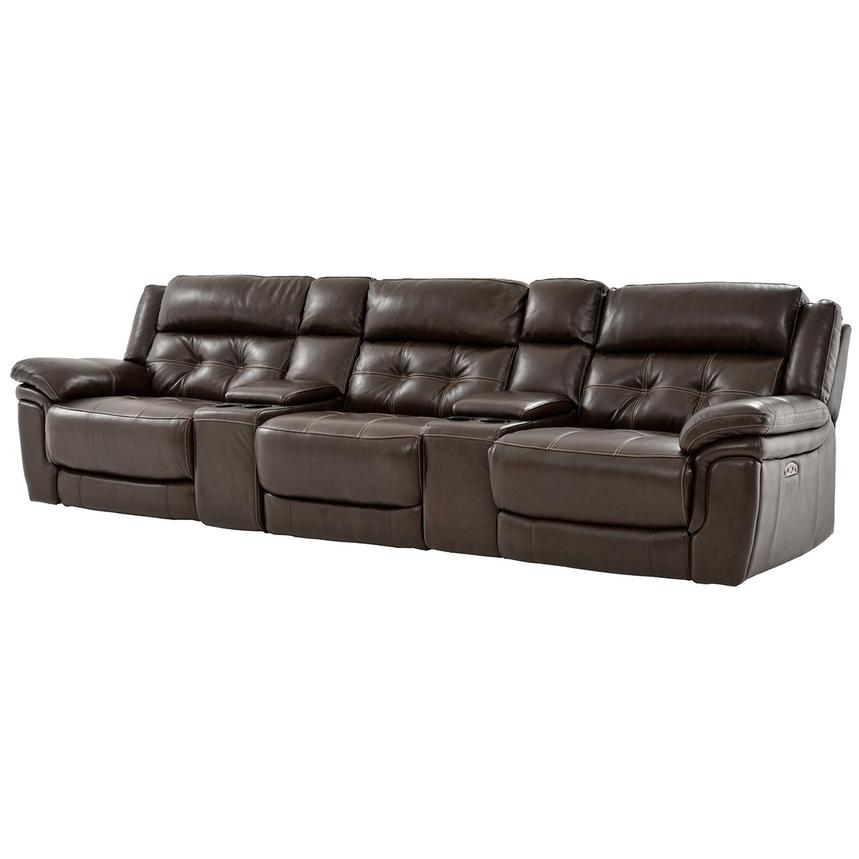 Stallion Brown Home Theater Leather Seating  main image, 1 of 9 images.