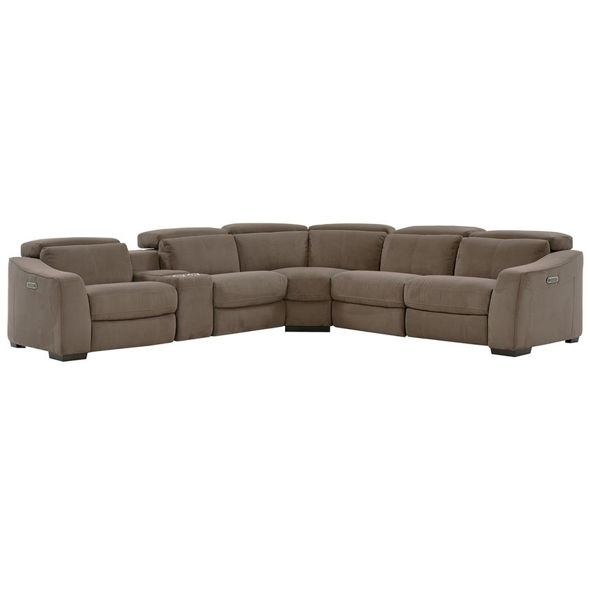Jameson Brown Power Motion Sofa w/Right & Left Recliners  main image, 1 of 9 images.