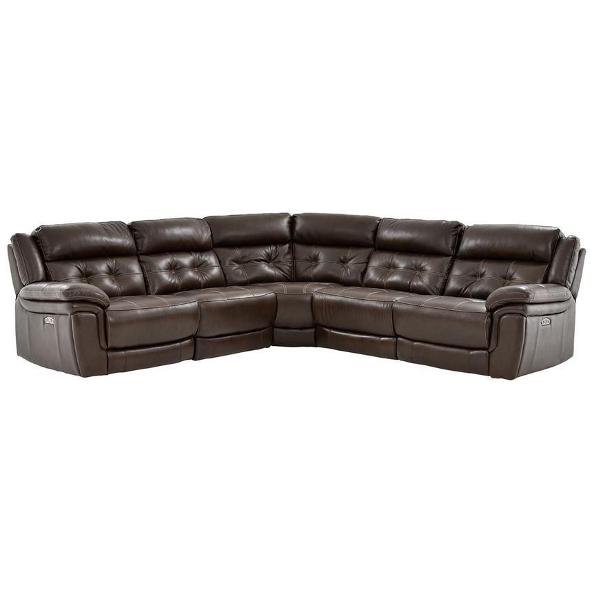 Stallion Brown Power Motion Leather Sofa w/Right & Left Recliners  main image, 1 of 9 images.