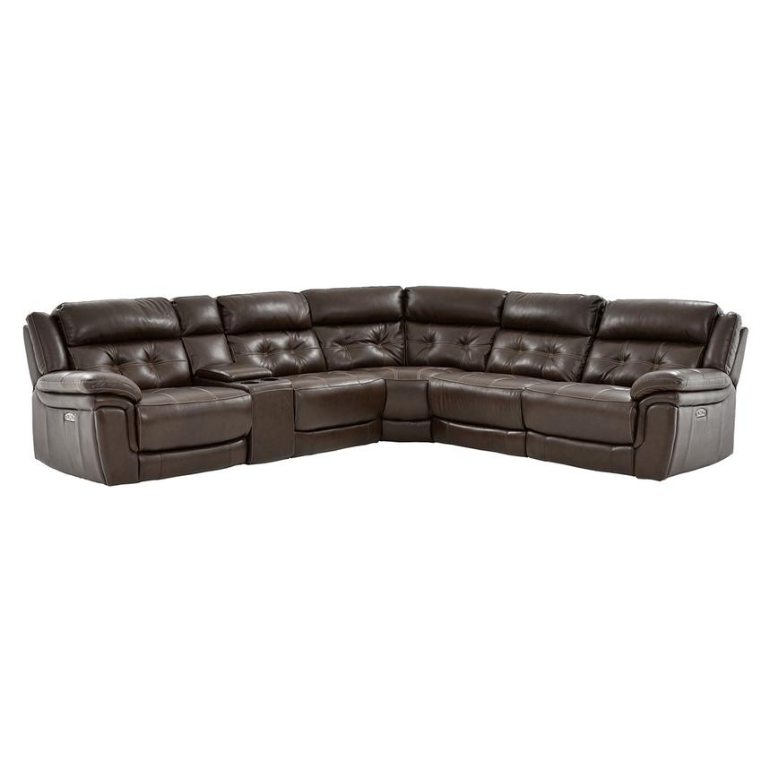 Stallion Brown Power Motion Leather Sofa w/Right & Left Recliners  main image, 1 of 10 images.