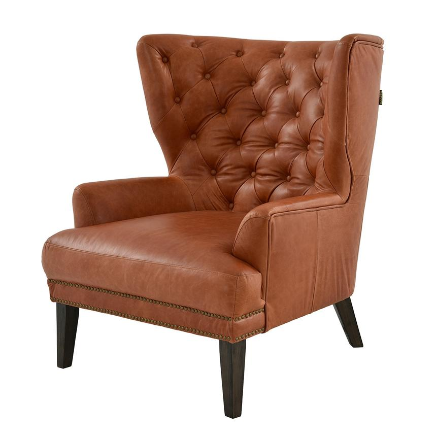 Dante Tan Leather Accent Chair Main Image, 1 Of 7 Images.