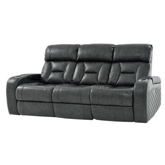 Gio Gray Power Motion Leather Sofa