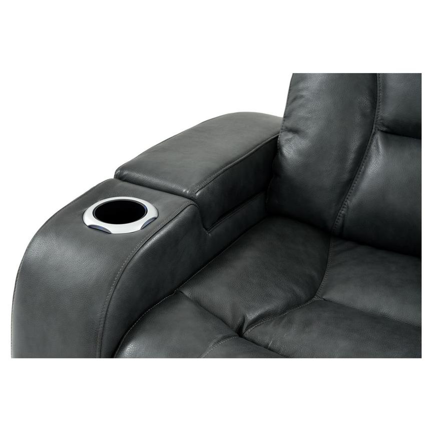 Gio Gray Power Motion Leather Sofa w/Console  alternate image, 6 of 12 images.