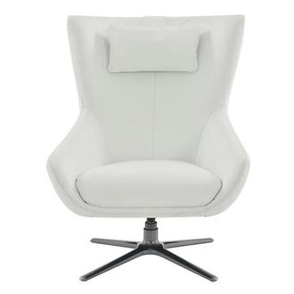 Clara White Leather Swivel Chair