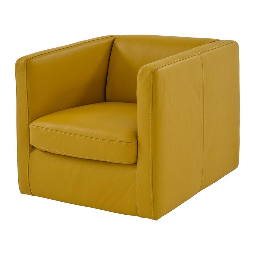 Cute Yellow Leather Swivel Chair Main Image, 1 Of 7 Images.