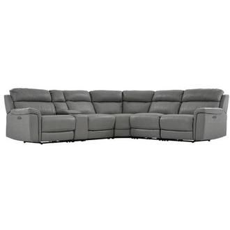 Russell Power Motion Leather Sofa w/Right & Left Recliners