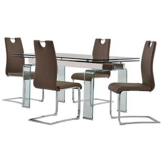 Millie/Josseline Taupe 5-Piece Formal Dining Set