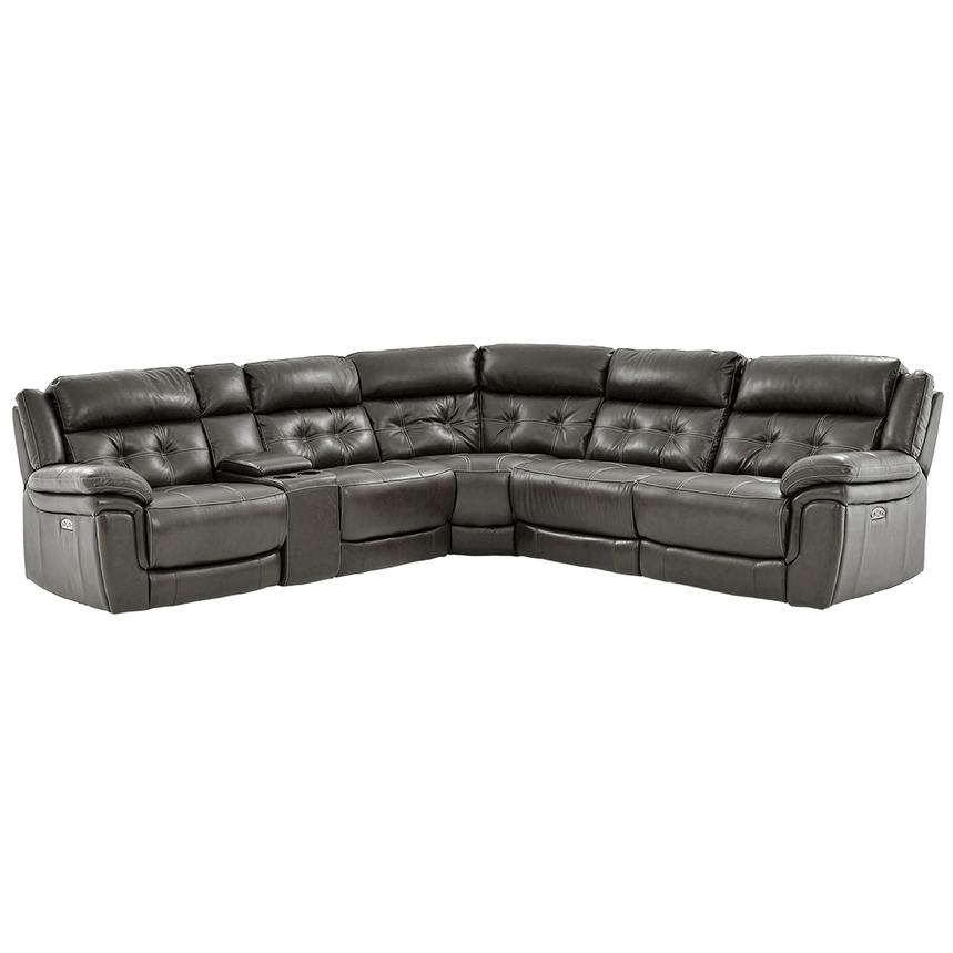 Stallion Gray Power Motion Leather Sofa w/Right & Left Recliners  main image, 1 of 10 images.