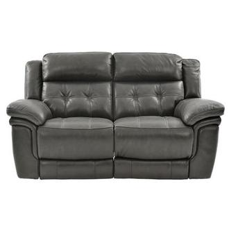 Stallion Gray Power Motion Leather Loveseat