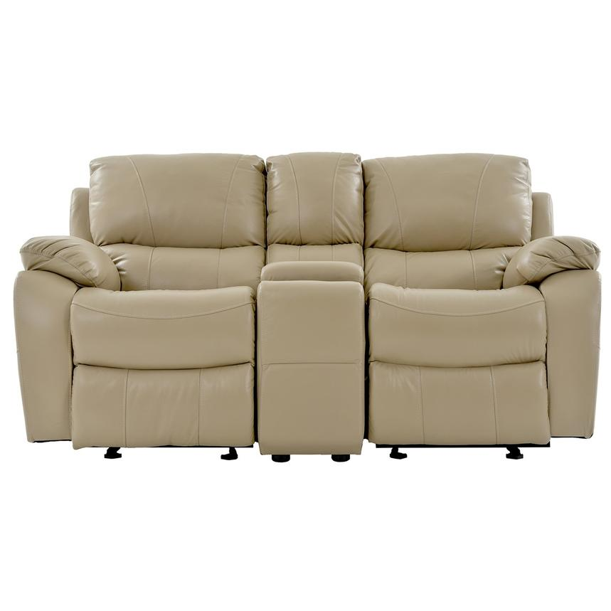 Mack Tan Recliner Leather Sofa W/Console Main Image, 1 Of 9 Images.