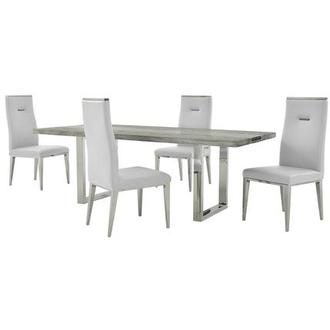 Skyscraper/Hyde White 5-Piece Formal Dining Set