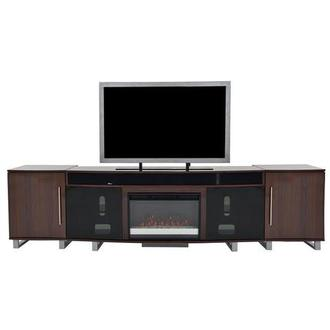 Enterprise Walnut Faux Fireplace w/Speakers